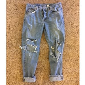 Destroyed High-Waisted Boyfriend Fit Jeans